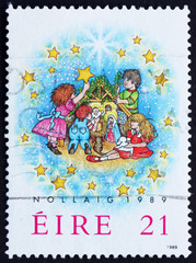 Postage stamp Ireland 1989 Children and Creche, Christmas