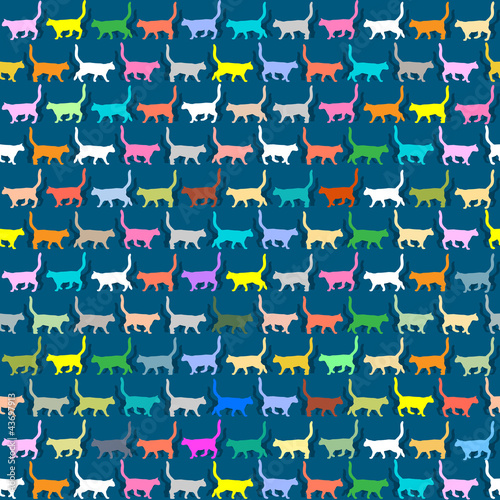 Seamless wallpaper with colorful silhouettes cats
