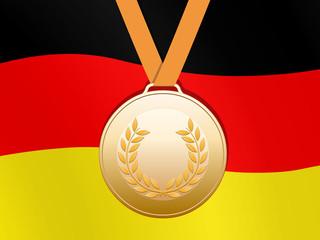 Bronzene Medaille mit deutscher Fahne