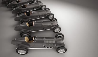 Antique black racing cars arch