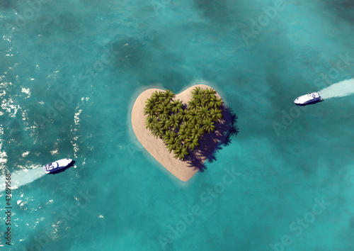 canvas print picture Heart Shaped Paradise Island