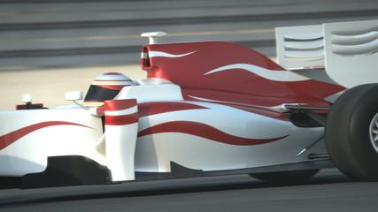 F1 race car on desert circuit - high quality 3d animation
