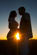 Silhouettes of young couple at sunset