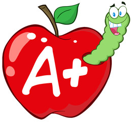 Happy Worm In Red Apple With Leter A+