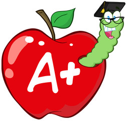 Worm In Red Apple With Graduate Cap,Glasses And Leter A+