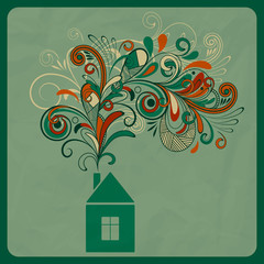 vector ecology concept with small house and floral smoke