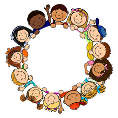 Children in white circle