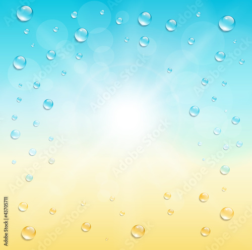 Sunny background with water drops.