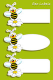 Set of labels with bee