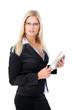 Junge blonde Geschäftsfrau mit Tablet PC