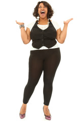 Beautiful Black Plus Sized Woman Excited Expressiion
