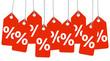 rote Anhänger mit % Zeichen