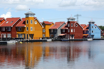 Colored houses on the Harbor Reitdiep in Groningen (Netherlands)