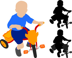 child riding tricycle