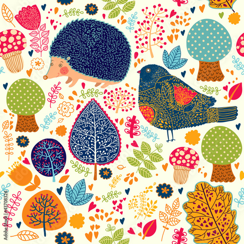 Fototapeta Autumn seamless pattern with flowers, trees, leaves and crew cut