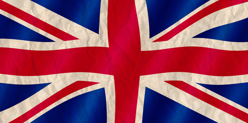 British Union Jack flag old crinkled effect.