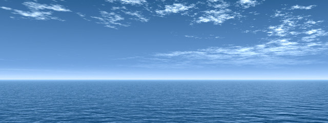 High resolution blue water and sky with clouds
