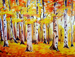 Acrylic on Canvas-Beauty of Autumn Forest
