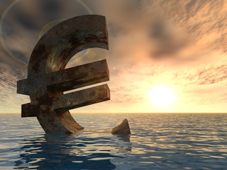 High resolution conceptual euro in water