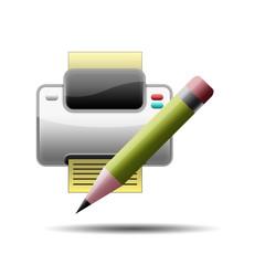 Icono impresora 3D con simbolo editar
