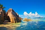 Fototapety Seascape view with a huge stones, Seychelles, LaDigue island