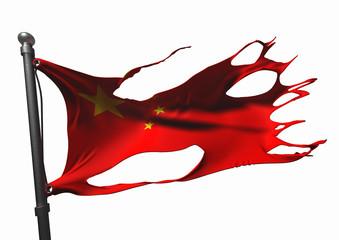 tattered chinese flag on white