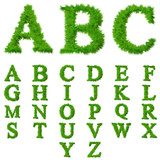 High resolution conceptual grass fonts set