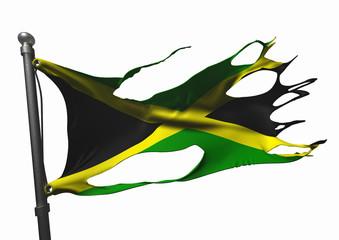 tattered jamaican flag on white