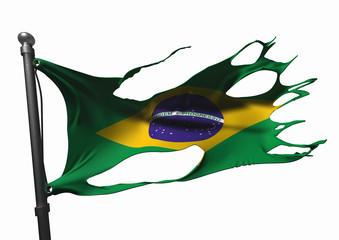 tattered brazilian flag on white