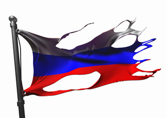 tattered russian flag on white