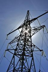High voltage pylon and blue sky