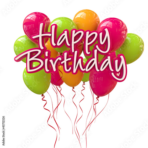 happy birthday schriftzug mit bunten luftballons. Black Bedroom Furniture Sets. Home Design Ideas
