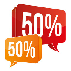 Red / Orange Speech Bubble - 50%