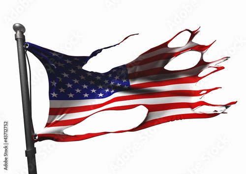 tattered american flag on white