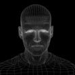 High resolution 3D wireframe human male head isolated on black