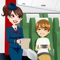 Stewardess Serving Water