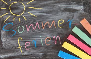 Tafel Mit Bunter Kreide - Sommerferien