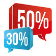 Red / Blue Speech Bubble - 50% / 30%