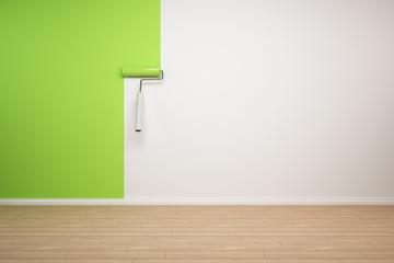 Wand wird grün gestrichen