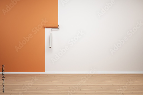 canvas print picture Wand wird orange gestrichen
