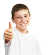 Portrait of young  caucasian boy showing a thumbs up