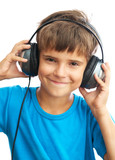 Smiling boy with headphones