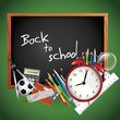 Back to school - blackboard with school supplies