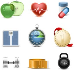 fitness vector icon set