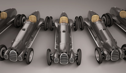Antique black racing cars front