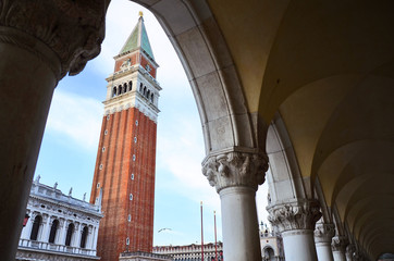 Famous Campanile, view from Dodges palace, Venice