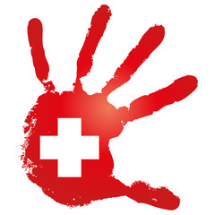 High resolution red painted hand with a white cross for medicine