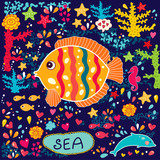 Vector wallpaper with fish and marine life