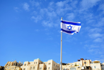 Israeli Flag above Jerusalem