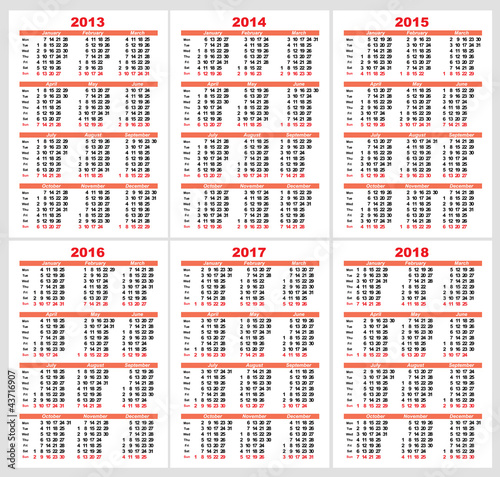 Set Calendar grid pocket vector